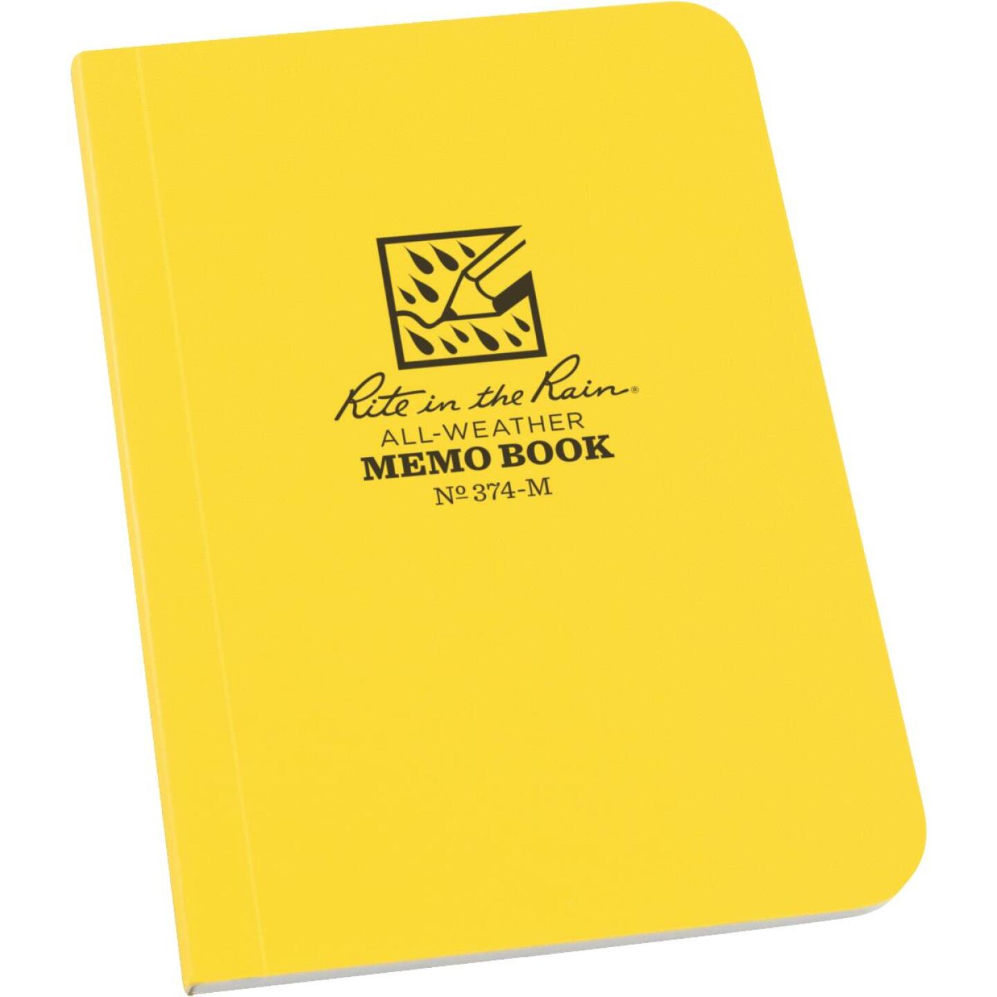 Rite in the Rain 3-1/2 In. W. x 5 In. H. Yellow 56-Sheet Soft Cover Side Bound All-Weather Memo Pad Image 1