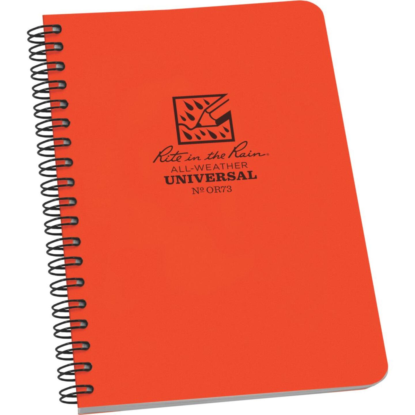 Rite in the Rain All-Weather 4-7/8 In. W x 7 In. H 32-Sheet Side Spiral Bound Notebook, Orange Image 1
