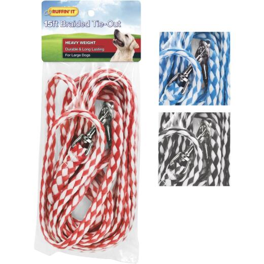 Westminster Pet Ruffin' it Heavy Weight Braided Large Dog Tie-Out, 15 Ft.