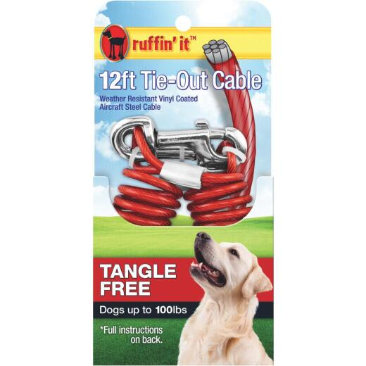 Westminster Pet Ruffin' it Tangle Free Large Dog Tie-Out Cable, 12 Ft.