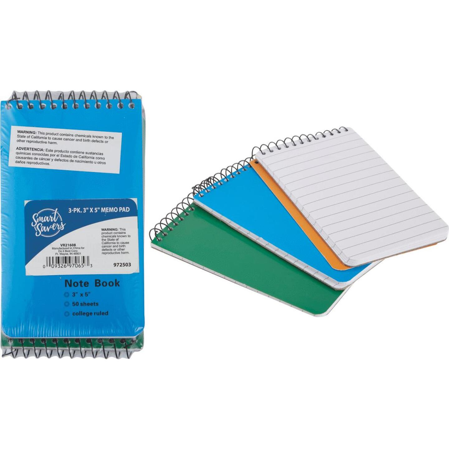 Smart Savers 3 In. x 5 In. White 50-Sheet Top Spiral Bound Memo Pad (3-Pack) Image 1